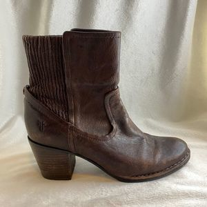 Frye Brown Leather Lucinda Scrunch Boot